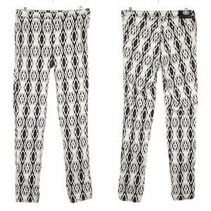 H&M Geometic Skinny Pants Stretch Black White